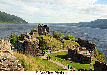 Urquhart Castle beside Loch Ness in Scotland, UK.