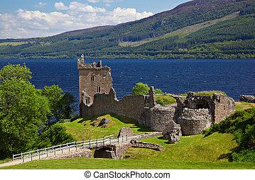 Urquhart Castle - Ruins of Urquhart Castle near Loch Ness...