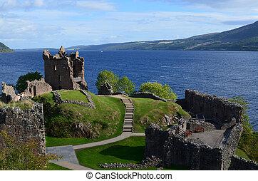 Urquhart Castle Ruins Beside Loch Ness in Scotland