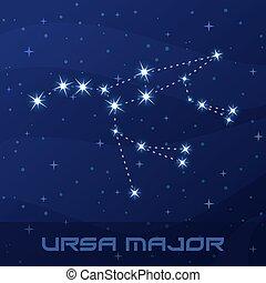 ursa, grand, constellation, ours, commandant
