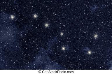 Ursa Major constellation in night sky with stars