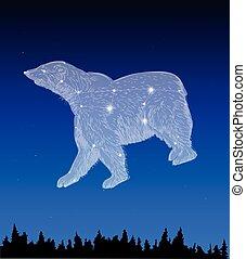 Night sky with Ursa Major constellation