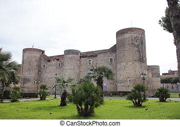 Ursino Castle in Catania - the ancient Castello Ursino in...