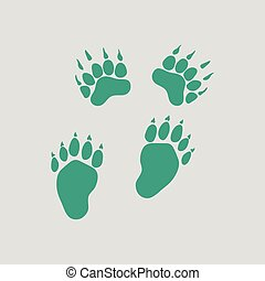 urso, ícone, rastros
