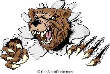 urso, através, rasgando, fundo