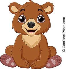 urso bebê, caricatura, marrom, sentando
