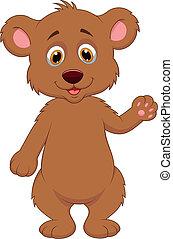 urso, bebê, cute, waving, caricatura, mão