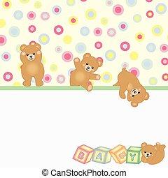 urso bebê, fundo, pelúcia