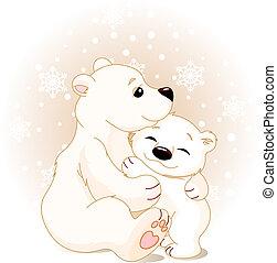 urso bebê, mãe