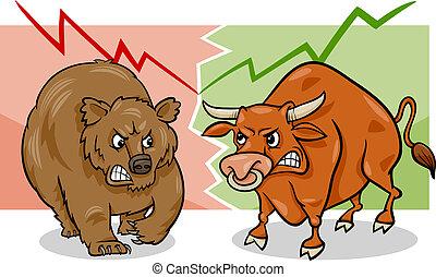 urso, caricatura, mercado, touro