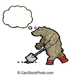 urso, caricatura, pá, cavando