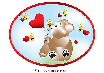 urso, com, abelhas, -, ilustração acionária