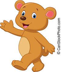 urso, cute, marrom, waving, caricatura, mão