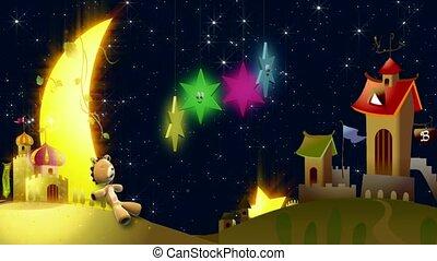 urso, dormir, sob, lua, e, estrelas, exterior, vila