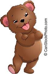 urso, em, bonito, pose