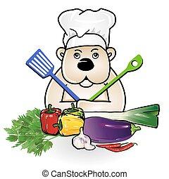 urso, em, cozinhar