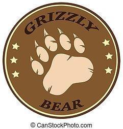 urso, etiqueta, impressão, marrom, círculo, pata