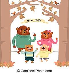 urso, família, floresta