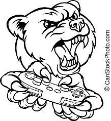 urso, gamer, mascote