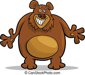 urso marrom, caricatura, ilustração
