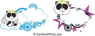 urso panda, anjo, criança, caricatura, copysa