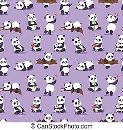 urso panda, cude, personagem, diferente, pose, vetorial,...
