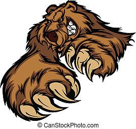 urso pardo, corporal, mascote, patas