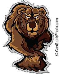 urso pardo, corporal, prowling, mascote, w