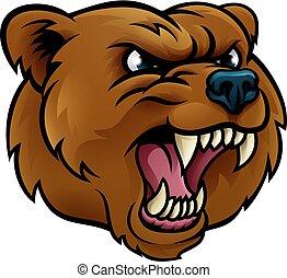 urso pardo, esportes, rosto, zangado, mascote