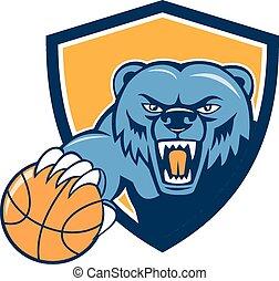 urso pardo, zangado, cabeça, basquetebol, escudo, caricatura