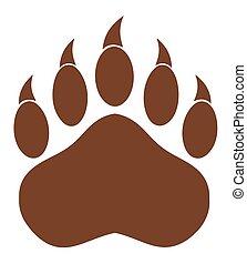 urso, pata, marrom