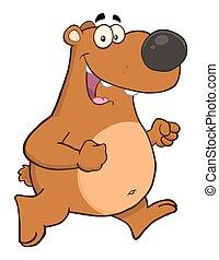 urso, personagem, feliz, marrom, caricatura