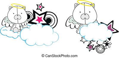 urso polar, anjo, criança, caricatura, copysa