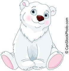 urso polar, sentando