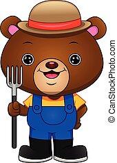 urso, segurando, cute, ancinho