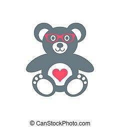 urso teddy, óculos