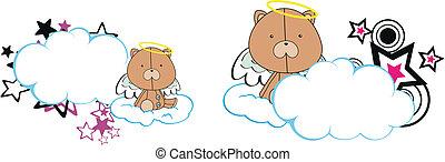 urso teddy, anjo, criança, caricatura, copysa