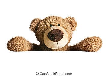 urso teddy, atrás de, um, junta branca