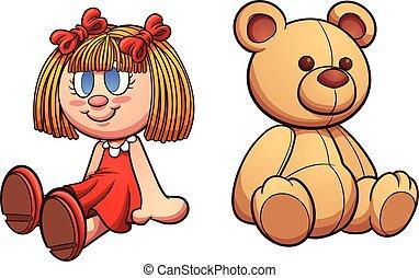 urso teddy, boneca