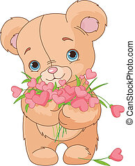 urso teddy, buquet, corações, dar