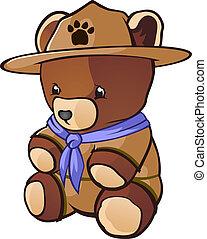 urso teddy, charac, espiar, filhote, caricatura