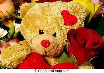urso teddy, e, rosas