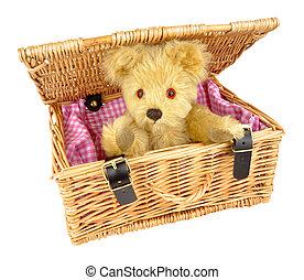 urso teddy, em, um, cesta feito vime