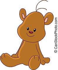 urso teddy, sentando