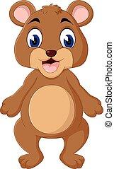 urso teddy, waving, caricatura, mão