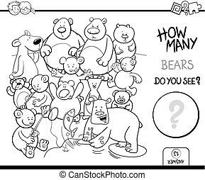 ursos, coloração, contagem, livro, atividade