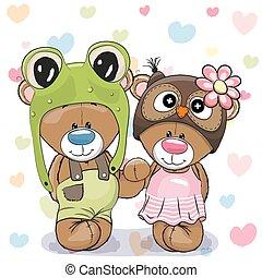 ursos, cute, dois