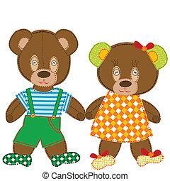 ursos, cute, pelúcia
