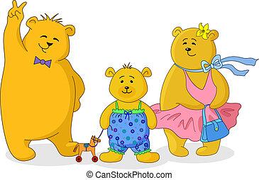 ursos, família, pelúcia