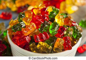 ursos, gomoso, fruity, coloridos